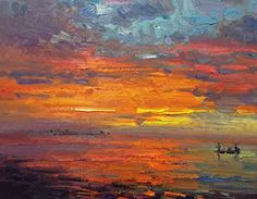 sunset fishin by Don Sahli Oil ~ 24 x 30