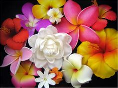 Beautiful flowers, aren't they? *gotcha*! They are super-detailed neoprene flower... hairclips!