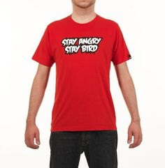 """T-shirt Rosso """"Stay Angry, Stay Bird"""""""