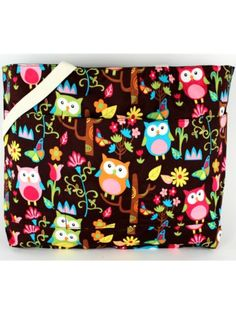 $11.50 Owl Give a Hoot with Brown Trim Large Tote Bag