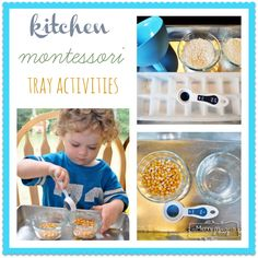 How to Make Montessori Pracitcal Life Trays using items from the Kitchen via My Merry Messy Life