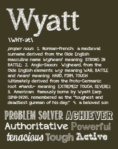 WYATT Personalized Name Print / Typography Print / Detailed Name Definitions…