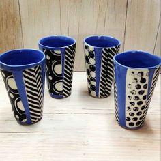 Tall Graphic Design Cups - Set Of 4 - Dark Blue