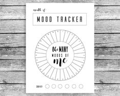 Monthly Mood Tracker Circle, Bullet Journal, A5 Journal, Mood Chart, Printable, PDF Download, Track Your Mood # affiliate #bujo #bulletjournal #planner #moodtracker