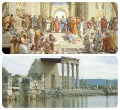 """El origen exacto de la filosofía se centra en """"La  Escuelo de Mileto"""" fundada en el S-VI a.C. en la colonia de Mileto, el la costa egea de Jonia (Asia Menor). Sus principales miembros fueron Tales de Mileto, Anaximandro y Anaxímenes. Se recoge muy poca información sobre referencias escritas pero los temas que trataban era sobre todo de la naturaleza y el arché (el principio). En esta escuela introdujeron nuevos puntos de vista a la sociedad de como estaba organizado el mundo. Alba, Painting, Point Of View, School, Naturaleza, Dots, Painting Art, Paintings, Drawings"""