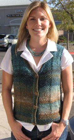 The India Knit Sweater / Vest, Knitting pattern pdf, for women/misses, Noro yarn, wool,silk, waistcoat, teal,