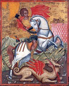 The Antivouniotissa museum, Corfu, Greece. Byzantine Icons, Byzantine Art, Saint George And The Dragon, Russian Icons, Biblical Art, Best Icons, Religious Icons, Angel Art, Sacred Art
