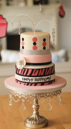 This sparkly little number was for my daughter's 11th birthday this year.  Fondant covered cake with lots of rhinestone ribbon.