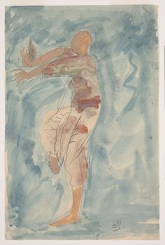 Cambodian Dancer in Profile (1906/7) by Auguste RodinPencil, watercolour and gouache on paper, 30 x 19.7 cmPhoto Musée Rodin, Paris