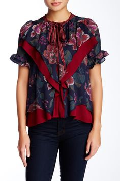 Silk Floral Ruffle Blouse by Allison Collection on @nordstrom_rack Sponsored by Nordstrom Rack.