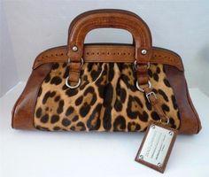 Dolce & Gabbana Brown Leather & Animal Print Calf Hair Miss Romantique Satchel.