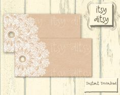 Rustic favor tags - wedding printable - Lace Doily wedding favor tags - Kraft printable favour tags - place cards -Instant Download