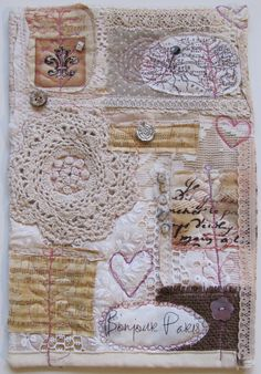 """""""Bonjour""""  created from a mix of reclaimed and new textiles. http://www.handsandharts.com/"""