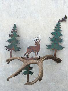 Mule Deer at a Stance, Authentic Antler & Metal Wall Art Metal Artwork, Metal Wall Art, Antler Art, Mule Deer, Southwest Style, Custom Knives, Deer Antlers, Moose Art, Rustic