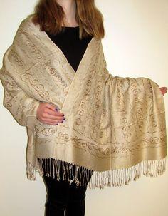 navy grand paisley shawl kashmir hand embroidered wrap - Kashmir Fine Arts  & CraftsKashmir Fine Arts & Crafts