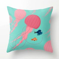 Just Keep Swimming Finding Nemo Throw Pillow by Jay Fleck from Saved to actual gift ideas. Cute Pillows, Throw Pillows, Accent Pillows, Disney Pillows, Disney Bedrooms, Pillow Fight, Pillow Talk, Disney Home, Disney Diy