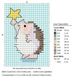 free cross stitch hedgehog with star    (....cr...very small but cute...similar to Penny Black's hedgehogs)