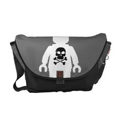 White 'Customize My Minifig' Minifigure with Skull Messenger Bag