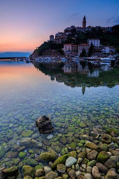Awakening. Town Vrbnik at dawn. Island Krk, Croatia.