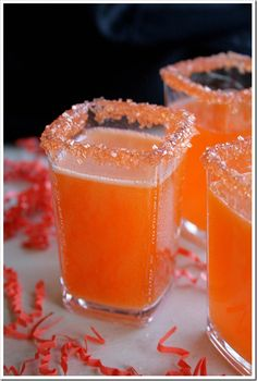 Hocus Pocus Fizz ~ 1 cup Pineapple Juice, 1/2 cup Rum, 1/4 teaspoon McCormick Imitation Coconut Extract, 3 drops McCormick Red Food Color, 2 drops McCormick Yellow Food Color, 1 bottle (750 ml) Sparkling White Wine