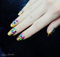 jeweled nails by Butter London at libertine fall 2013 #manicure #nailart