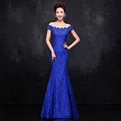 New Elegant Off the Shoulder Long Mermaid Evening Dress 2015 Party Dresses Lace Red Royal Blue Evening Dress Robe De Soiree