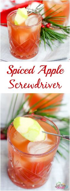 Spiced Apple Screwdriver Recipe The Perfect Fall Cocktail - The Apple Screwdriver May Very Well Be One Of The Most Perfect Fall Cocktails With A Splash Of Rum Vodka And Apple Cider It Is A Light Sweet And Refreshing Drink Filled With Fall Flavors The Spic Fall Cocktails, Winter Drinks, Holiday Drinks, Holiday Recipes, Thanksgiving Drinks, Drinks Alcohol Recipes, Cocktail Recipes, Alcoholic Drinks, Drink Recipes