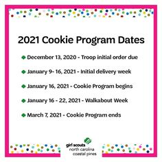 It's almost our favorite time of year- the Girl Scout Cookie Program! Mark your calendars and get ready to build your confidence and entrepreneurial skills as part of the largest girl-led business in the world!​
