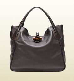 borsa shopping hip bamboo in pelle