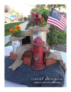 Las Vegas #Fireman #Firefighter Retirement Party #Centerpiece Side - Outdoor Table Setting Two, Custom Tin Can Photo Planters, Bricks, American Flag, Picture Frame #noveldesigns