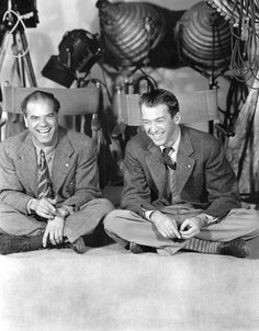 "Frank Capra (Director)  and Jimmy Stewart on the set of ""It's a Wonderful Life"""