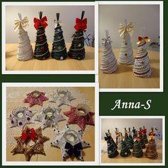 Vianočné stromčeky a svietniky. Autorka: Anna-S. Papierové pletenie, paplet, vianoce, vianočná výzdoba. Artmama.sk