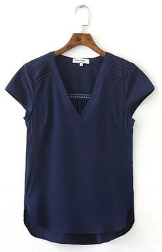 nice Chiffon Blouse Short Sleeve V-neck