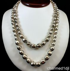 """Vintage Silver Plated Baroque Bead DBL Strand Graduated Necklace 18""""L Gorgeous! #Unbranded #StrandString"""