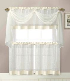 Linen Leaf 4 Piece Embroidered Kitchen Curtain Set (Beige)   So Pretty. They