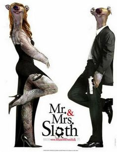 Mr & Mrs Smith Movie with Brad Pitt and Angelina Jolie, Mr & Mrs Sloth Sid from Ice Age Movies, Daily Humor - Enjoy The Laughs Baby Sloth, Cute Sloth, Brad Pitt Movies, Sid The Sloth, Ice Age Movies, Brad Pitt And Angelina Jolie, Mr And Mrs Smith, Friends Moments, Funny Memes