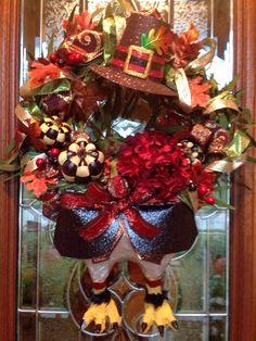 DIY Thanksgiving Turkey Wreath I just finished on front door. Turkey body legs from paper mâché. I hadn't paper mache'd in probably years! Thanksgiving Wreaths, Thanksgiving Decorations, Thanksgiving Turkey, Deco Mesh Wreaths, Holiday Wreaths, Autumn Wreaths, Fall Crafts, Holiday Crafts, Turkey Wreath