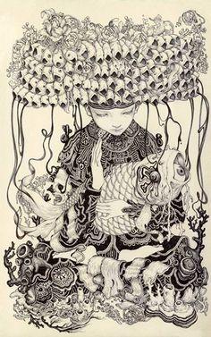 "James Jean  Ink on Paper, 5 x 8"", 2013."