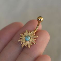 turquoise belly button rings,sun belly ring,nature stone belly button jewelry,navel piercing