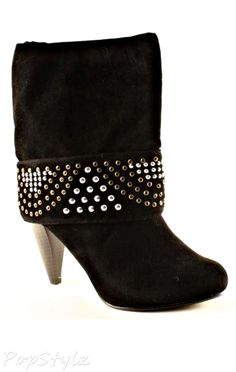 Qupid Luxe Metal Cuffed Booties