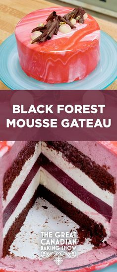 Black Forest Mousse Gateau // Everyone loves a Black Forest cake. It can't possibly be improved upon, right? This mirror glazed take on a classic cake helped Sachin win Star Baker during The Great Canadian Baking Show's Chocolate Week. Chocolate Week, Chocolate Mousse Cake, Homemade Chocolate, Chocolate Meringue, Mirror Glaze Recipe, Mirror Glaze Cake, Mirror Cakes, Cupcakes, Cupcake Cakes