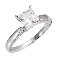 Classic Solitaire 1.50 carat Princess Cut Diamond Engagement Ring - http://www.mybridalring.com/Rings/culptural-engagement-base-mounting-ring/