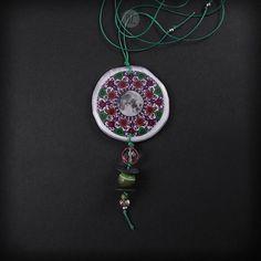 Necklace Cinnamon Moon Mandala 100% handmade folk jewelry boho style, big etno necklace pendant mandala graphic, made in Poland, resin, moon
