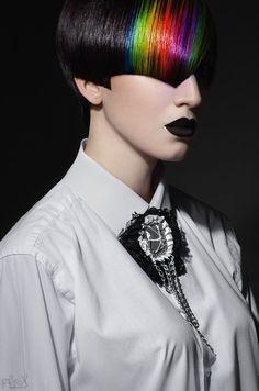 Rainbow accents on black #hair #bright #rainbow #dyed #hair Photo by http://flexdreams.com/