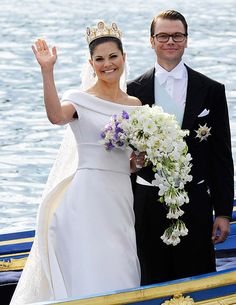 Crown Princess Victoria of Sweden chose a stunning cascade of white flowers for her lavish nuptials: valley lilies, orchids, clematis, peonies, roses and gardenias