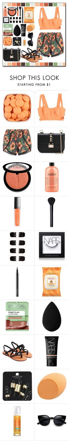 """""""Black and orange"""" by ana-a-m ❤ liked on Polyvore featuring Valentino, Sephora Collection, philosophy, Butter London, NARS Cosmetics, Forever 21, Burt's Bees, L'Oréal Paris, beautyblender and Topshop"""