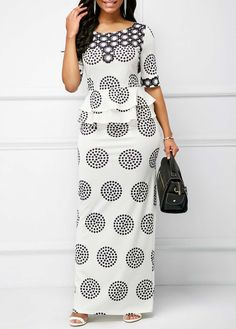 US$ 34.47 - Round Neck Printed Peplum Waist Maxi Dress