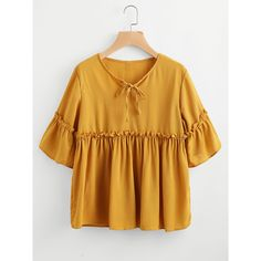 17bdc71022214 SheIn(sheinside) Frill Trim Smock Blouse featuring polyvore women s fashion  clothing tops blouses yellow flutter sleeve blouse neck ties flounce sleeve  ...