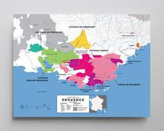 Wine Map of Provence, France with Cities Aix En Provence, Provence Rose, Provence France, Wein Poster, Loire Valley France, Champagne France, Burgundy France, Wine Folly, Wine Auctions