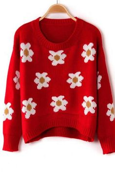 *free ship* daisy pattern woolen sweater - red - 1125518967